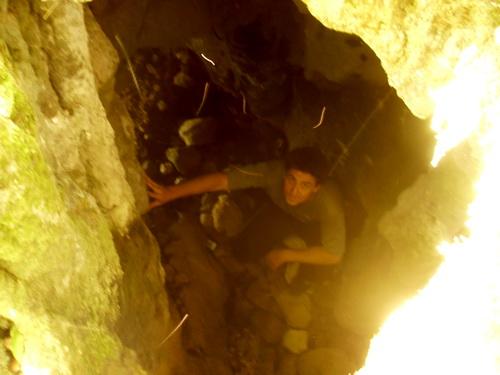 На дне пещеры, вид сверху.