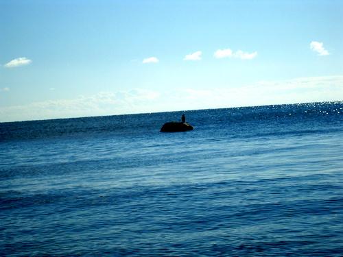 Камень в море.