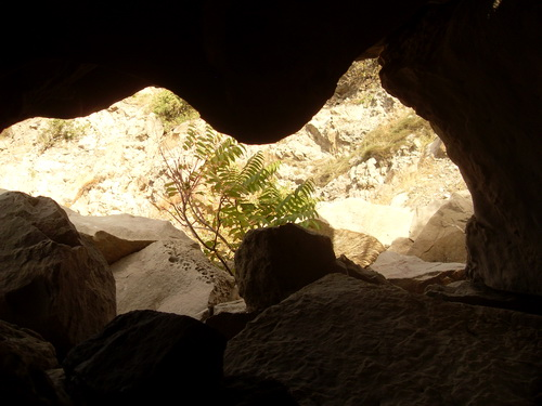 Вот такой интересный вид из пещерки.